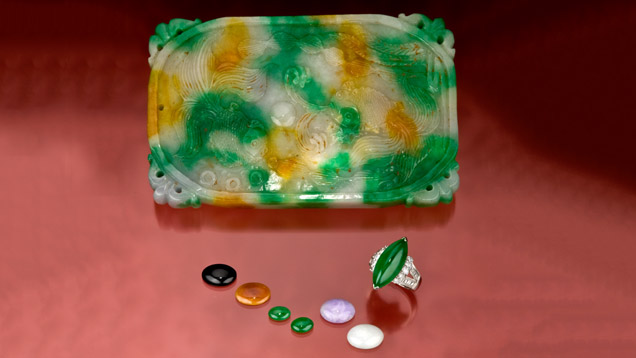 Jadeite is available in a wide range of sizes for jewelry as well as carvings. - Gift of Sophie Leu
